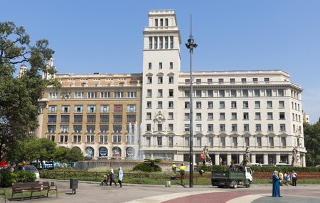 catalunya: BARCELONA, SPAIN - JULY 6, 2015: Plaza De Catalunya (Square of Catalonia) in Barcelona. Spain.