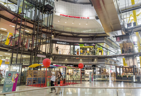 barcelona: BARCELONA, SPAIN - JULY 8, 2015: Interior of the Las Arenas shopping centre, former bullring of Las Arenas in Barcelona, Spain. Editorial
