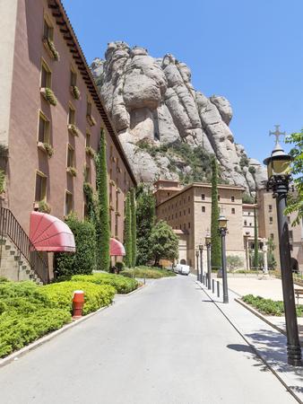 BARCELONA, SPAIN - JULY 10, 2015: Architecture of The Benedictine abbey Santa Maria de Montserrat in Monistrol de Montserrat, Spain. Editorial