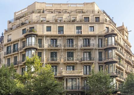 barsa: BARCELONA, SPAIN - JULY 14, 2015: Typical landscape of one urban district in Barcelona, Spain.  Barcelona, Spain - July 14, 2015: Typical landscape of one urban district in Barcelona, Spain. Editorial
