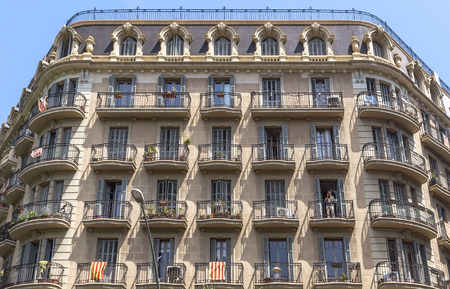 BARCELONA, SPAIN - JULY 6, 2015: Typical architecture of one urban district in Barcelona, Spain.