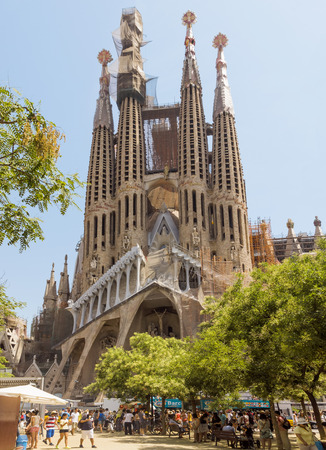barcelona cathedral: BARCELONA, SPAIN - JULY 6, 2015: La Sagrada Familia - the impressive cathedral designed by Gaudi, which is being build since 19 March 1882 and is not finished yet.