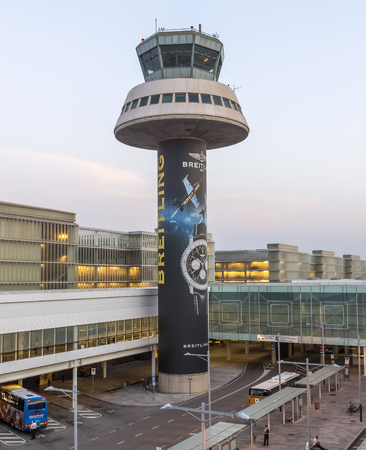 control tower: BARCELONA, SPAIN - JULY 16, 2015: The control tower of El Prat-Barcelona airport. This airport was inaugurated in 1963. Editorial