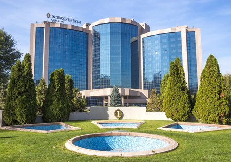 intercontinental: ALMATY, KAZAKHSTAN - OCTOBER 21, 2015: The InterContinental Hotel is located near Republic Square and the Presidential Palace in Almaty.