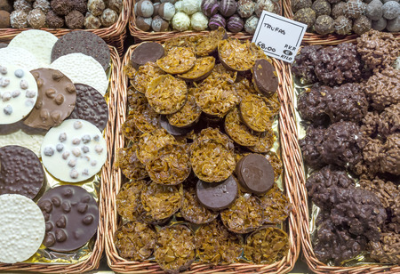 la boqueria: Dessert shop in La Boqueria, the most famous market in Barcelona. Stock Photo