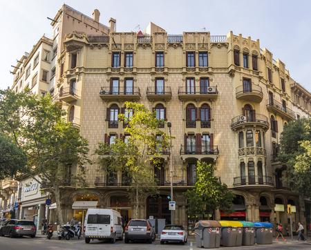 barsa: BARCELONA, SPAIN - JULY 14, 2015: Typical landscape of one urban district in Barcelona, Spain.