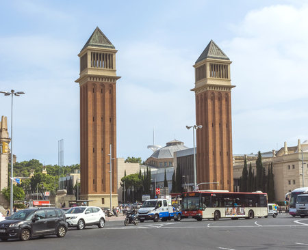 catalunia: BARCELONA, SPAIN - JULY 8, 2015: Two Venetian towers located at Placa dEspanya in Barcelona. The most beautiful square in the Catalan capital.