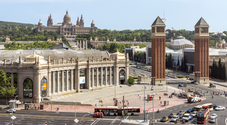 BARCELONA, SPAIN - JULY 8, 2015: Fira Barcelona - a trade show and exhibition center in Barcelona, Spain. It was built in 1929 to International Exposition.