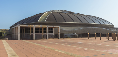 olympic ring: BARCELONA, SPAIN - JULY 6, 2015: Palau Sant Jordi (St. Georges Palace) is an indoor sporting arena part of the Olympic Ring complex located in Montjuic district of Barcelona.