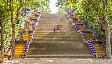 montjuic: BARCELONA, SPAIN - JULY 6, 2015: Stairs in Montjuic park in Barcelona, Spain.