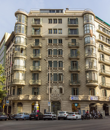 barsa: BARCELONA, SPAIN - JULY 14, 2015: Typical architecture of one urban district in Barcelona, Spain.