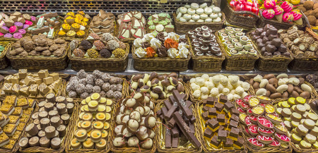 boqueria: Dessert shop in La Boqueria, the most famous market in Barcelona. Stock Photo