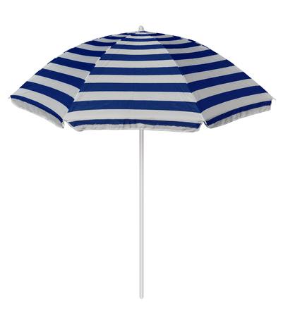 Blauw gestreepte parasol op wit wordt geïsoleerd. Stockfoto