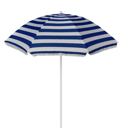 Blue striped beach umbrella isolated on white.