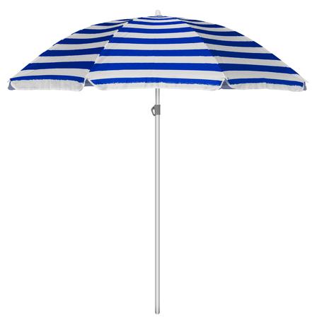 beach resort: Blue striped beach umbrella isolated on white.