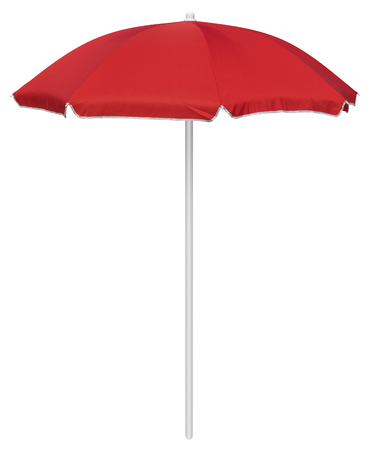 resort beach: Red beach umbrella isolated on white.  Stock Photo