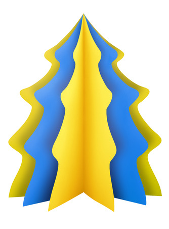 fir tree: Yellow-blue Christmas tree made of paper isolated on white. Clipping path included.