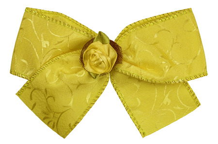 silk bow: Yellow silk bow isolated on white. Clipping path included. Stock Photo
