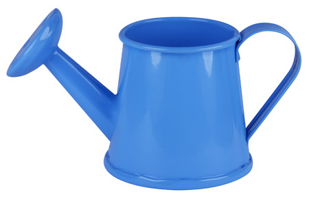 water in can: Light blue watering can isolated on white. Clipping path included.