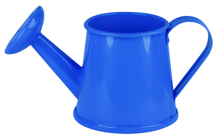 water in can: Blue watering can isolated on white. Clipping path included.