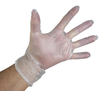 guantes: La mano del hombre en el guante de pl�stico desechable aislado en blanco. Aseguramiento camino.