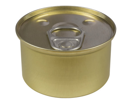 tinned goods: Tin can preserve isolated on white. Clipping path included. Stock Photo