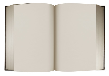 hard cover: Open vintage book in a hard cover with blank pages for your writing or text on a white background. Clipping path included. Stock Photo