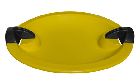 toboggan: Yellow toboggan isolated on the white background. Clipping path included. Stock Photo