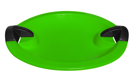 toboggan: Green toboggan isolated on the white background. Clipping path included. Stock Photo