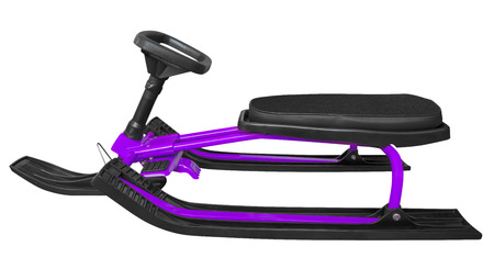 to steer a sledge: Violet snow sledge isolated on white background. Clipping path included.