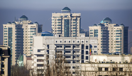 alma: ALMATY, KAZAKHSTAN - FEBRUARY 6, 2016: Modern architecture in the historic centre of Almaty.