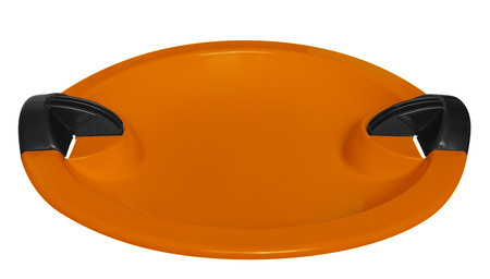 toboggan: Orange toboggan isolated on the white background. Stock Photo