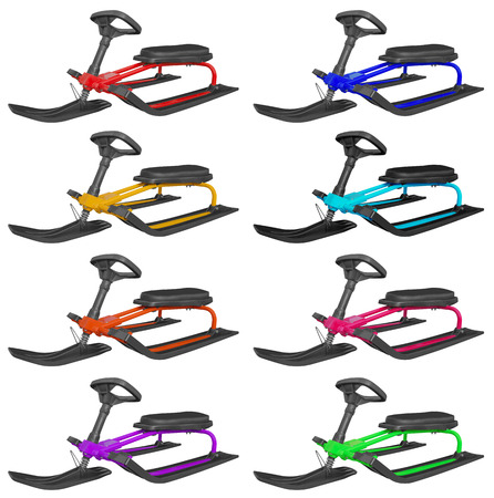 to steer a sledge: Colorful snow sledges isolated on white background.