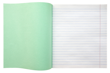 school books: Opened the notebook with lines isolated on white background