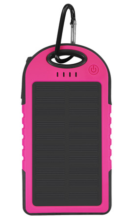 emit: Pink portable solar charger for smart phone isolated on white with clipping path