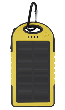 photoelectric: Yellow portable solar charger for smart phone isolated on white with clipping path