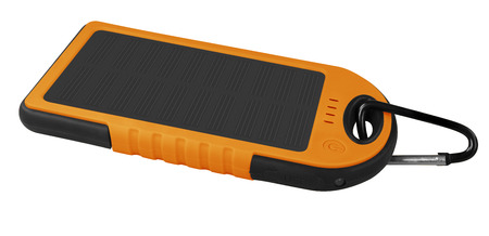 emit: Orange portable solar charger for smart phone isolated on white with clipping path