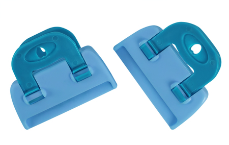 Light Blue plastic clamps isolated on white background.