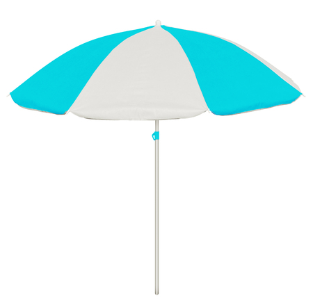 fun day: Light blue and white beach umbrella isolated on white.