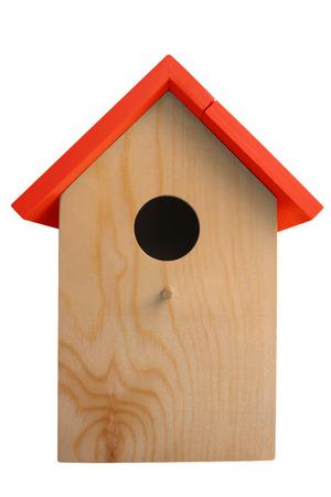 Wooden nest box birdhouse isolated on white. Stock Photo