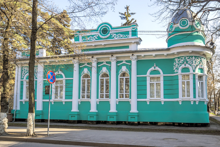 20th century: ALMATY, KAZAKHSTAN - MARCH 21, 2016: Old merchants house with stucco floral ornaments, was built in the early 20th century by order of Titus Golovizin - Verny master shoemakers.