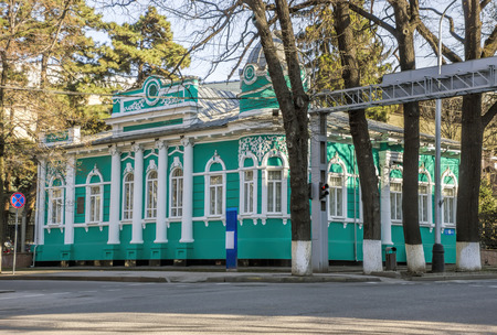 ata: ALMATY, KAZAKHSTAN - MARCH 21, 2016: Old merchants house with stucco floral ornaments, was built in the early 20th century by order of Titus Golovizin - Verny master shoemakers.