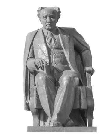 playwright: ALMATY, KAZAKHSTAN - MARCH 21, 2016: The monument of Mukhtar Auezov - Soviet Kazakh writer, playwright and scientist. The author is sculptor Sergebayev Eskene, architects - Baymurzayev, Kaynarbaev.