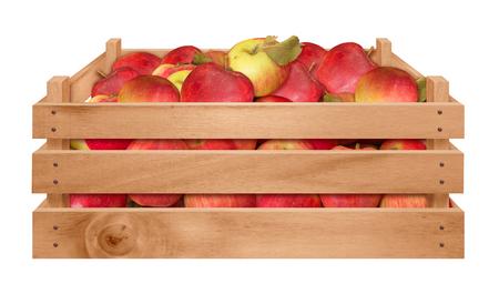 빨간 사과와 나무 상자 화이트 절연 스톡 콘텐츠