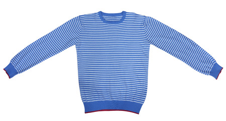 sleeve: Blue and white striped long sleeve t-shirt isolated on white. Clipping path included.