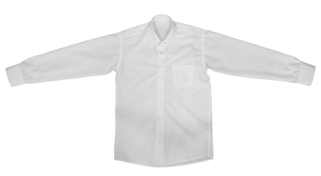 view an elegant wardrobe: White shirt with long sleeves isolated on white background.