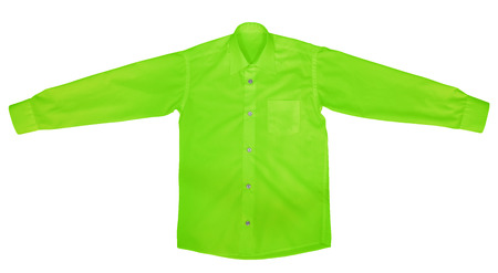 view an elegant wardrobe: Green shirt with long sleeves isolated on white background.