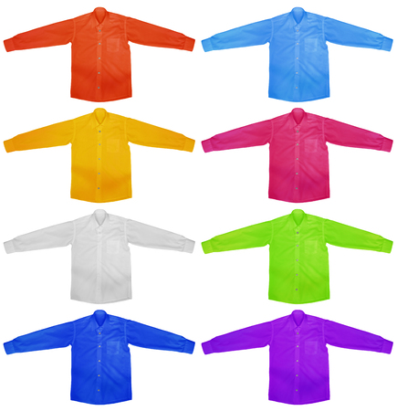 view an elegant wardrobe: Colorful shirts with long sleeves isolated on white background. Stock Photo