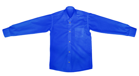 view an elegant wardrobe: Dark Blue shirt with long sleeves isolated on white background.