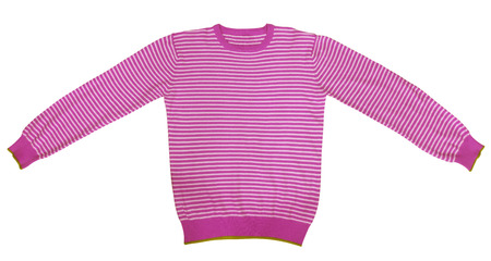 sleeve: Pink and white striped long sleeve t-shirt isolated on white. Stock Photo